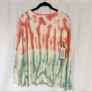 For the Republic Pink White Green Tie Dye Sweater